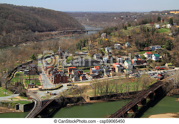 Maryland Heights View of Harpers Ferry - csp59065450