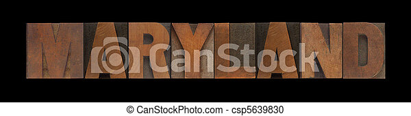 Maryland in old wood type - csp5639830