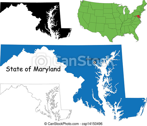 Maryland map State of maryland usa eps vectors Search Clip Art