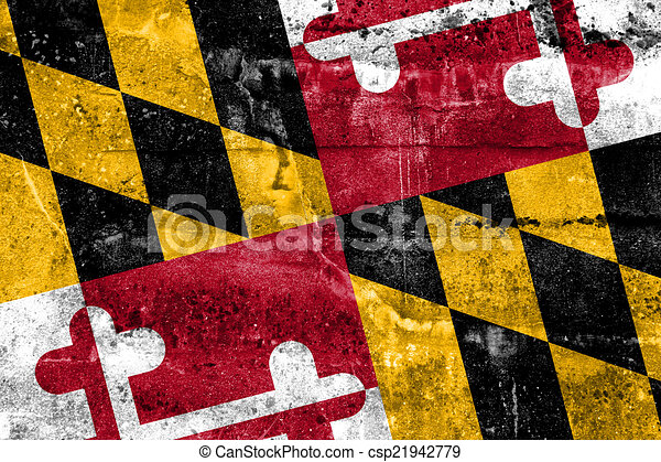 Well-known Maryland state flag painted on grunge wall. BJ76