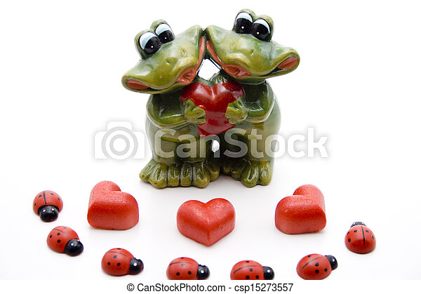 Marzipan heart with beetle - csp15273557