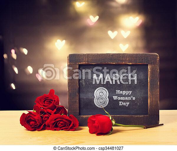 marzo, womans, rosas, 8, mensaje, día - csp34481027