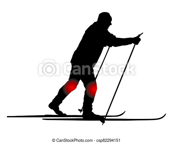 ma's skier a campo través, rodilla, dolor - csp82294151