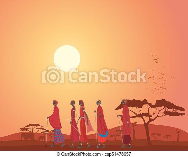 Masai und Landschaft - csp51478657