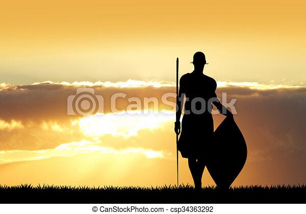Masai bei Sonnenuntergang - csp34363292