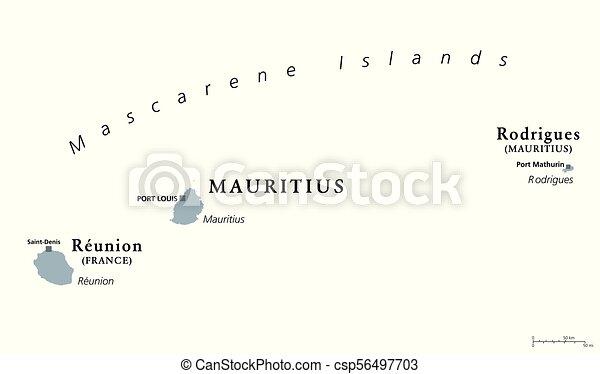 Mascarene islands gray map mauritius reunion rodrigues