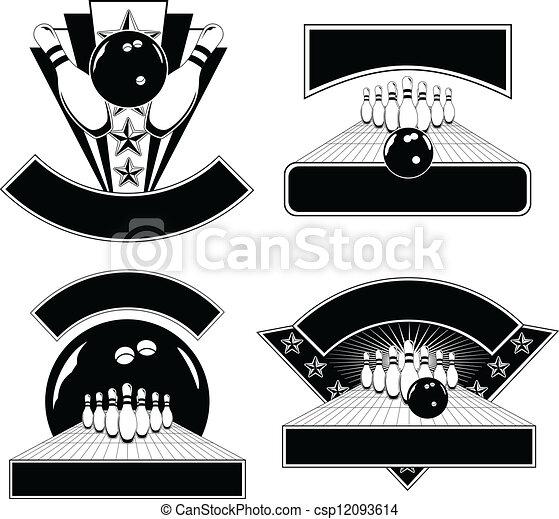 mascherine, disegno, emblema, bowling - csp12093614