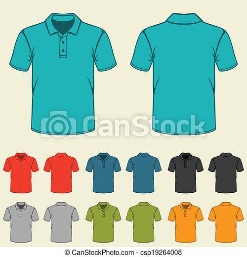 mascherine, set, colorato, men., camicie, polo - csp19264008