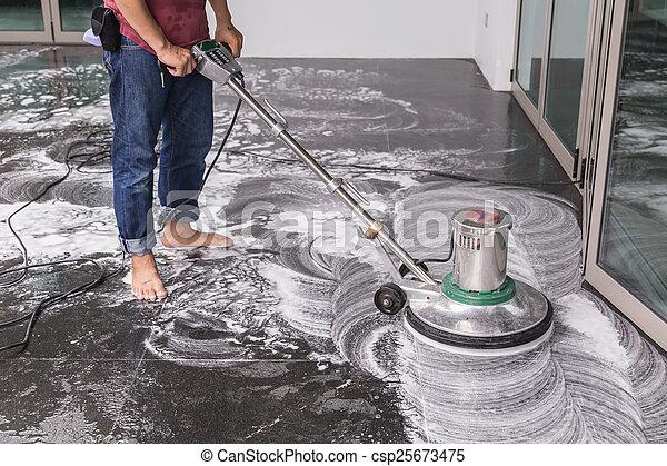 Maschine Gross Putzen Boden Maschine Leute Boden Chemische