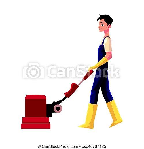 Maschine service boden junge putzen gebrauchend mann for Boden putzen