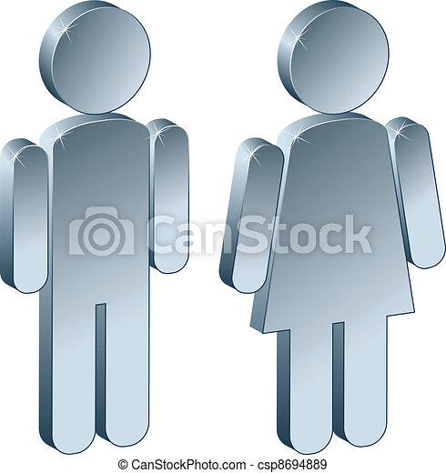 maschio, 3d, femmina, metallico - csp8694889