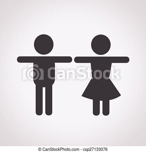 maschio, femmina, icona - csp27133076