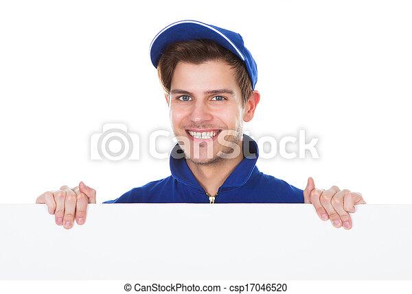 maschio, lavoratore, pulizia, pavimento - csp17046520
