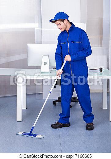 maschio, lavoratore, pulizia, pavimento - csp17166605