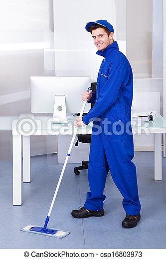 maschio, lavoratore, pulizia, pavimento - csp16803973