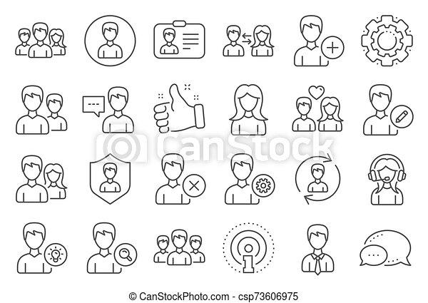 maschio, vettore, profiles., femmina, utenti, linea, icons. - csp73606975