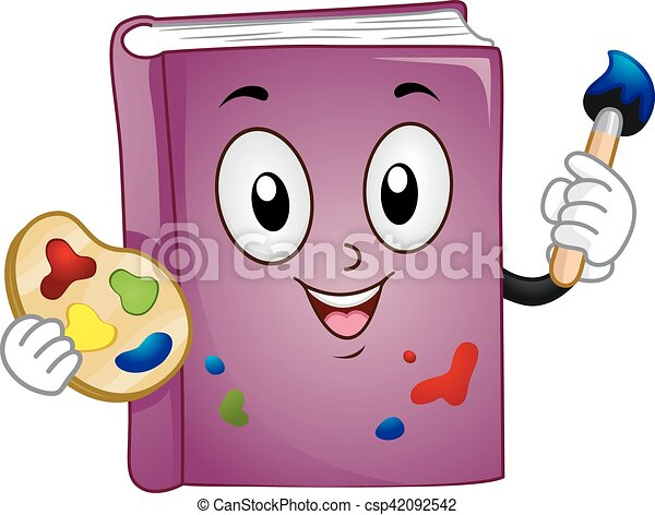Mascot book art paint. Mascot illustration of a purple book holding ...