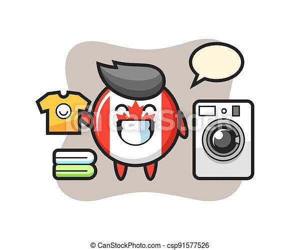 Mascot cartoon of canada flag badge with washing machine - csp91577526