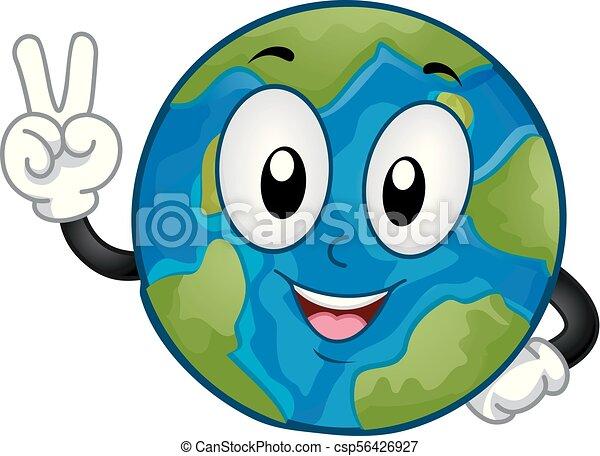 Mascot Earth Peace Hand Sign Illustration - csp56426927