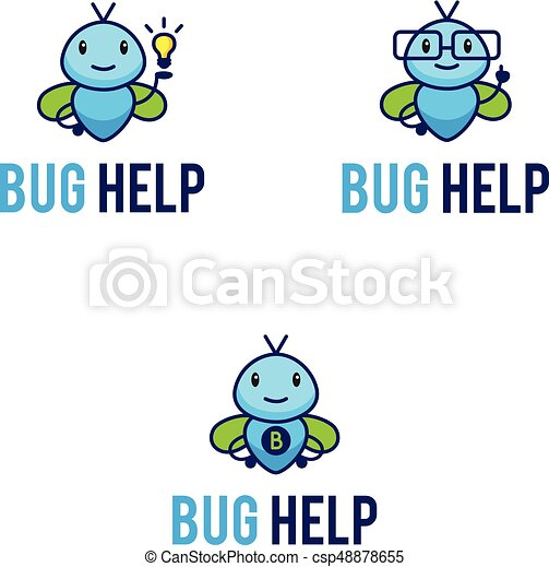 Mascot logos set with funny abstract bugs - csp48878655