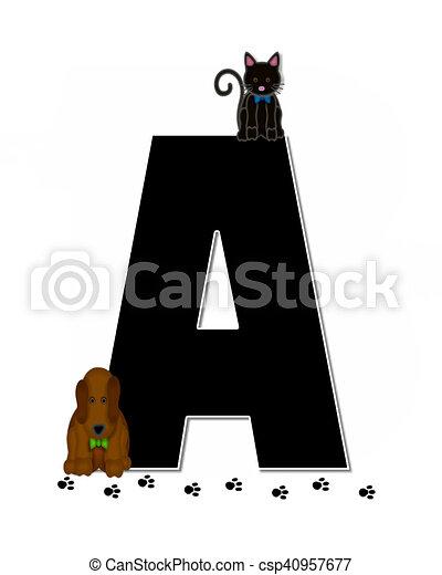 Mascota, alfabeto, impresiones, niños, pata. Dog., conjunto, cartas ...
