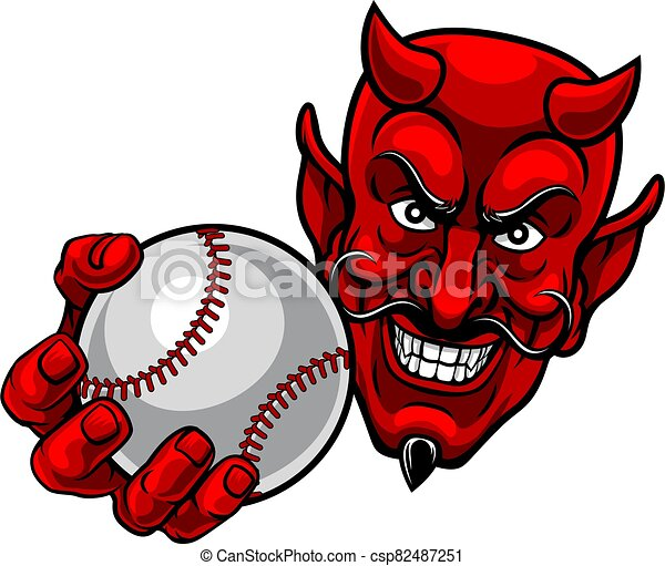 mascota, caricatura, pelota, beisball, satanás, diablo, deportes - csp82487251