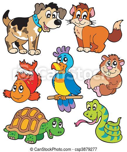 Coleccion de caricaturas de mascotas - csp3879277