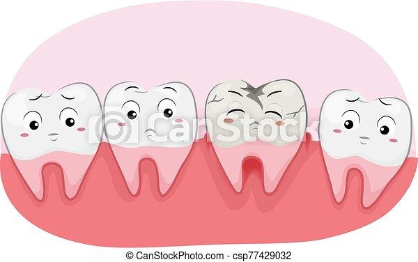 mascota, caries, ilustración, dientes - csp77429032