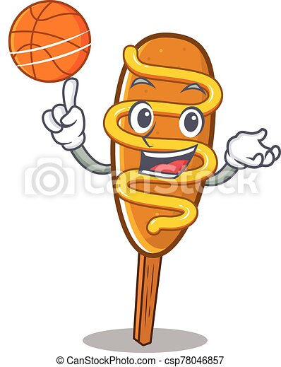 mascota, juego, perro, carácter, imagen, maíz, caricatura, baloncesto - csp78046857