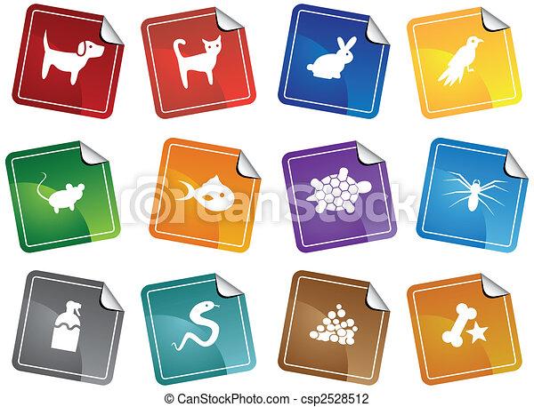 mascota, pegatina, conjunto, tienda, icono - csp2528512