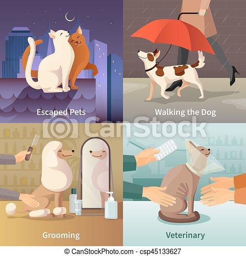 Los iconos de la tienda de mascotas - csp45133627