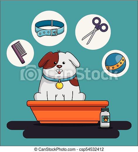 La tienda de mascotas puso iconos - csp54532412