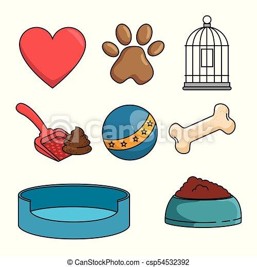 La tienda de mascotas puso iconos - csp54532392