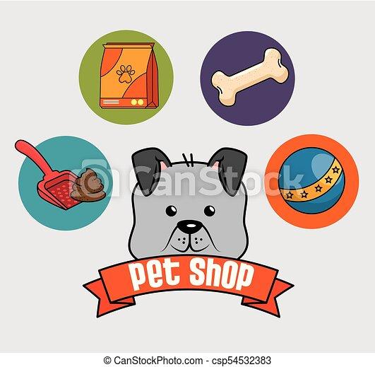 La tienda de mascotas puso iconos - csp54532383