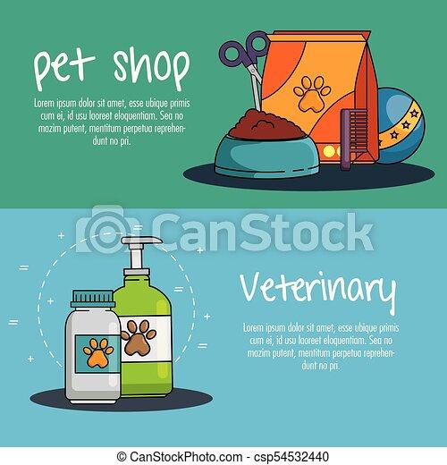 La tienda de mascotas puso iconos - csp54532440