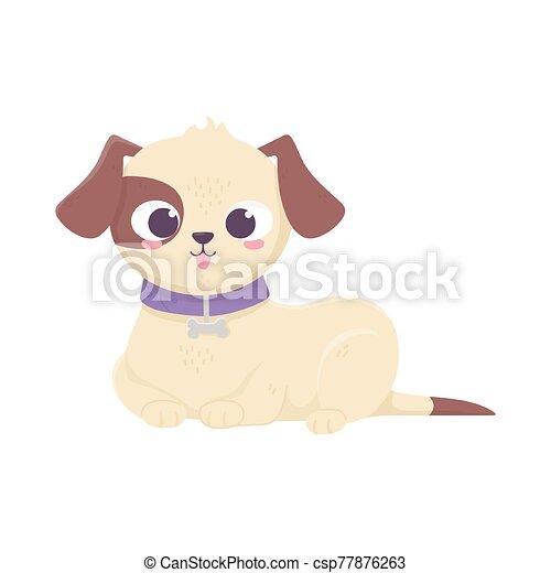 mascotas, acostado, perro, doméstico, caricatura, animal, lindo - csp77876263