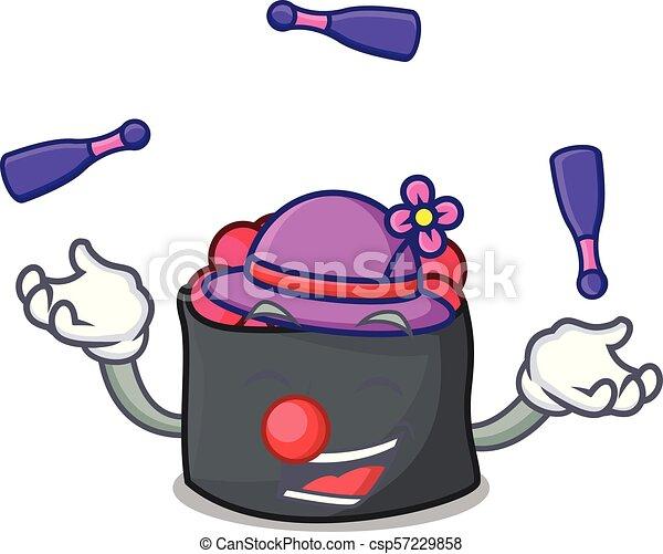 mascote, estilo, ikura, caricatura, juggling - csp57229858