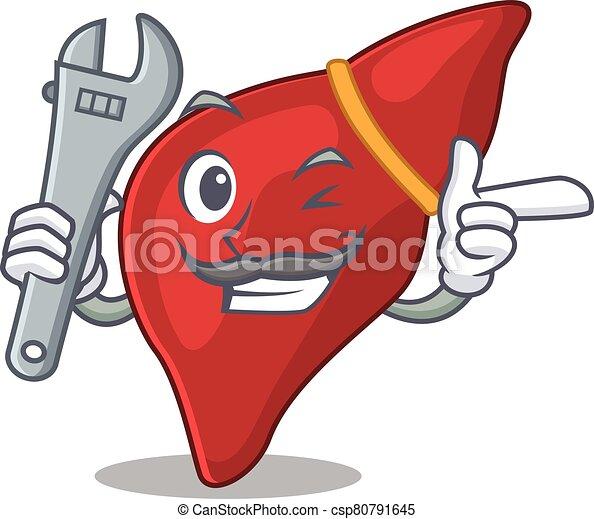 mascote, quadro, fígado, conceito, desenho, saudável, human, mecânico - csp80791645