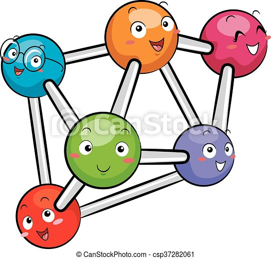 mascots atoms molecule mascot illustration featuring a group of atoms rh canstockphoto com solid liquid gas clipart black and white