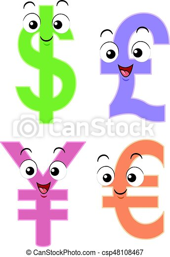 Mascots Currency Symbols Colorful Mascot Illustration Featuring The