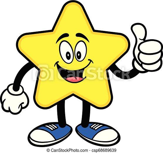 mascotte, étoile, haut, pouces - csp68689639