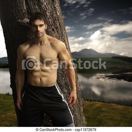 Masculine man outdoors - csp11972679