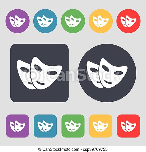 mask icon sign. A set of 12 colored buttons. Flat design. Vector - csp39769755