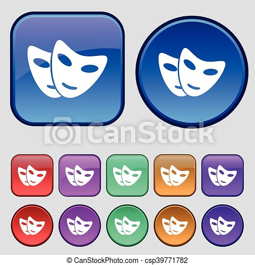 mask icon sign. A set of twelve vintage buttons for your design. Vector - csp39771782