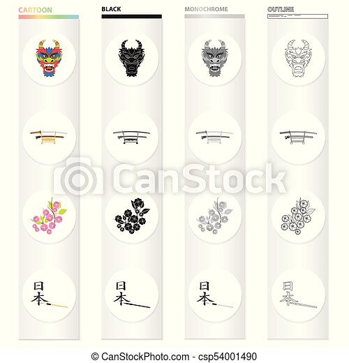 Mask of a dragon, a Japanese sword of a katana, a branch of an Oriental cherry, a hieroglyph. Japan set collection icons in cartoon black monochrome outline style vector symbol stock illustration web. - csp54001490