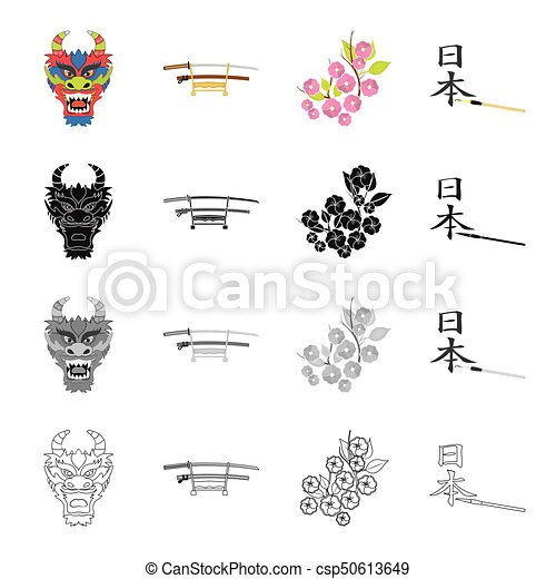 Mask of a dragon, a Japanese sword of a katana, a branch of an Oriental cherry, a hieroglyph. Japan set collection icons in cartoon black monochrome outline style vector symbol stock illustration web. - csp50613649