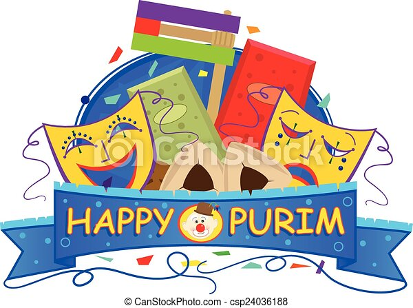mask purim banner. happy purim banner with purim masks, vector