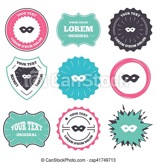 Label and badge templates. mask sign icon. anonymous spy access ...