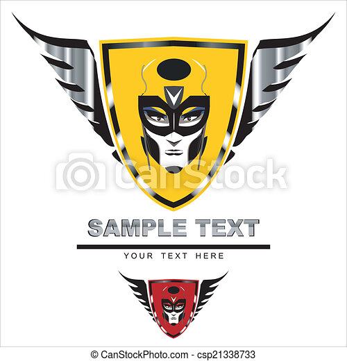 Masked face on winged shield - csp21338733