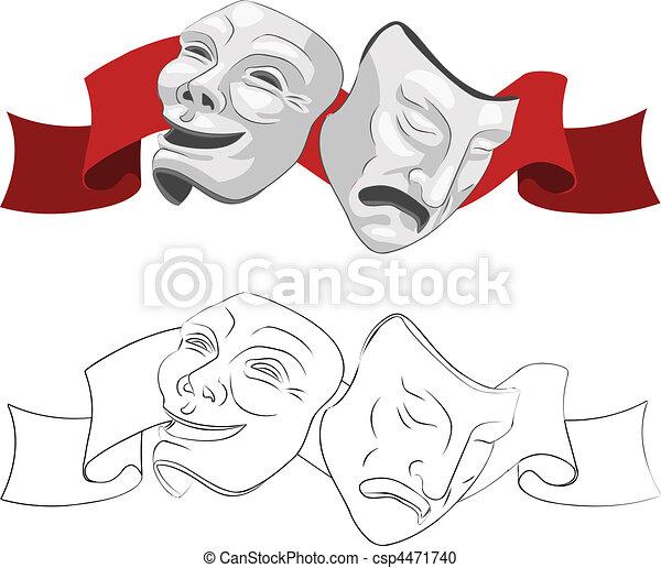 maski, teatr, tragedia, komedia - csp4471740